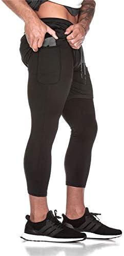 Fitnessstudio und Basketball Leichte Sporthose f/ür Laufen Sport Lange Hose und Shorts Gym Ducomi Herren Fitness Shorts Leggings Kompression Running 2-in-1