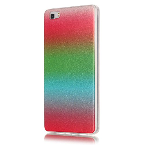 Funda para Huawei P8 Lite 2016,Huawei P8 Lite Carcasa,Huawei P8 Lite Case,Felfy Ultra Fina Alta Calidad Suave de TPU Funda Carcasa Caso Parachoques Funda Lujo Premium Cambio gradual Bling Caso Funda G Rojo Verde Azul