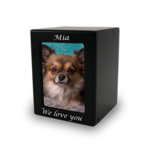 Photo Frame Wood Memorial Urn for Pets - Extra Small - Holds Up To 25 Cubic Inches of Ashes - Modern Black Cremation Urn for Cat, Dog - Engraving Sold Separately by OneWorld Memorials