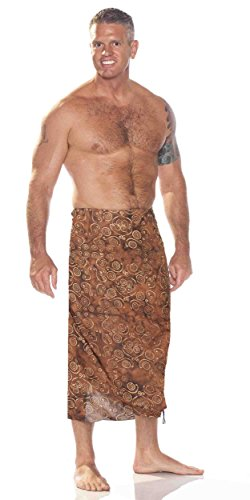 1 World Sarongs Mens Abstract Spiral Circle Design Sarong in Brown