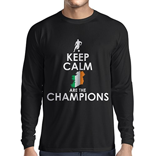 N4491L Long Sleeve t Shirt Men Keep Calm, Irish are The Champions (Small Black Multi Color)