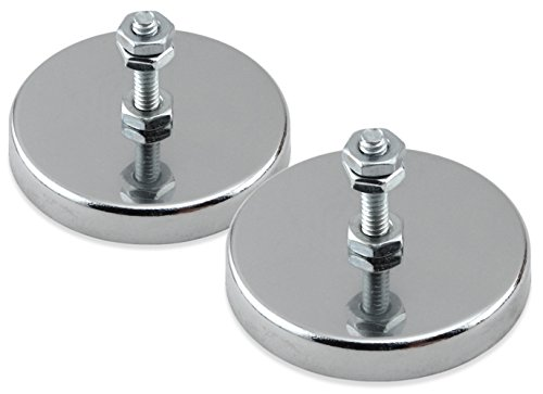 Master Magnetics RB50B3N-NEOX2 Magnetic Hook, Round Base Magnet Fastener with Bolt Chrome Plate, 2.04