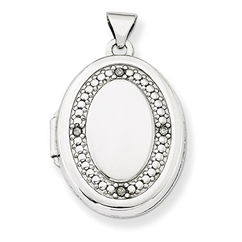 ICE CARATS 14k White Gold 21mm Oval Diamond Texture Photo Pendant Charm Locket Chain Necklace That Holds Pictures Fine Jewelry Ideal Mothers Day Gifts For Mom Women Gift Set From Heart by ICE CARATS