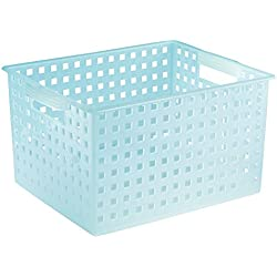 InterDesign Household Storage Basket, for Closet, Office, Garage, Bathroom and more - Large, Water