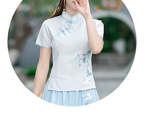 オリエンテーションテクトニックリズミカルなチャイナドレススタイルの女性の綿の色の刺繍チャイナドレス唐のスーツシャツの服,ナチュラルホワイト(ブルーサイド),ザ?