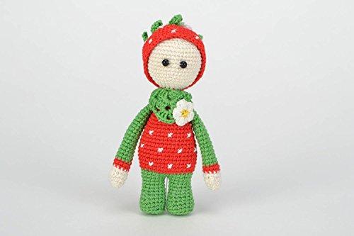 Beautiful Handmade Crochet Cotton Soft Toy Girl in Strawberry Costume Kids Gift -