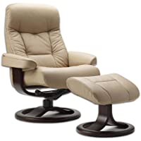 Leather Norwegian Ergonomic Scandinavian Lounge Reclining Chair Fjords 215 Large Muldal Recliner Furniture Nordic Line Genuine Sandel Light Brown Leather Walnut Wood