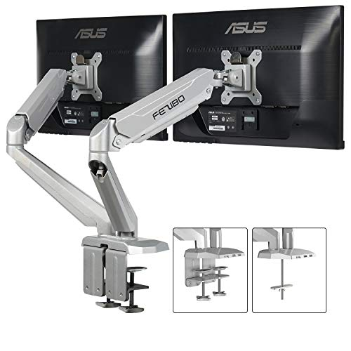 Dual Arm Monitor Mount Stand – Fezibo Height Adjustable Mount with Gas Spring for 2 Screens from 17″ to 29″ LCD Computer Screens, Each Arm Holds up to 17.6 lbs