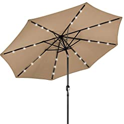 Garden and Outdoor Best Choice Products 10ft Solar Powered Aluminum Polyester LED Lighted Patio Umbrella w/Tilt Adjustment and Fade… patio umbrellas