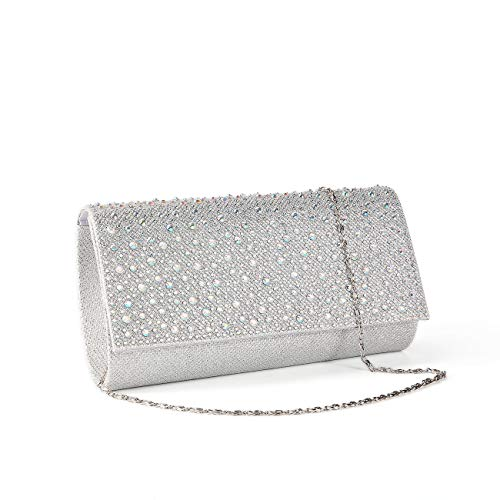 Women Rhinestone Clutch Purse Handbag Crystal Evening Bag Wedding Party Prom Purse. (Silver-1)