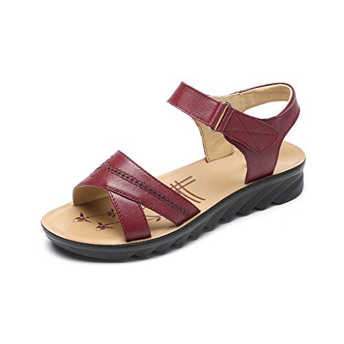Antideslizante Edad Tamaño 39 Rojo color Madre Mujer Planas Mediana Inferior Ancianos Suave Verano Sandalias Jianxin De Zapatos La Parte Cuero qHPttU