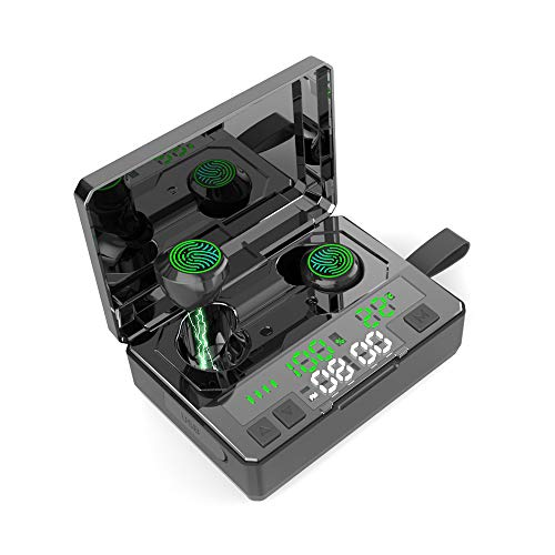 Wireless Earbuds Bluetooth 5.0 Earbuds IPX7 Waterproof TWS Stereo in-Ear Headphones 190H Playtime 5000mAh Charging Case with LED Battery, Thermometer and Time Display Built-in Mic Earphones for Sports