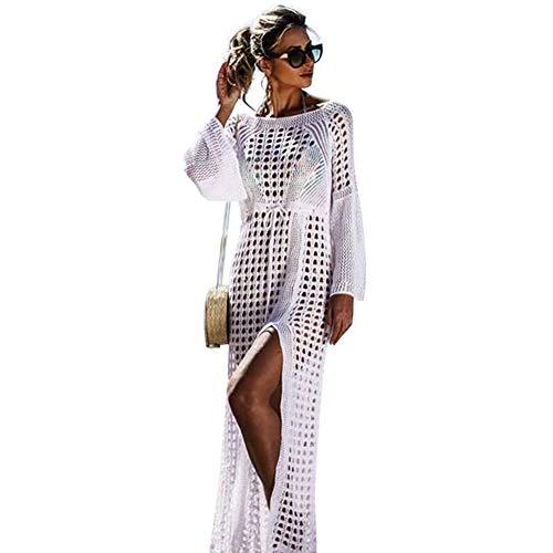 HOLA AMCS Women's Knitted Crochet Long Bathing Suits Cover ups Bikini Dresses Beachwear