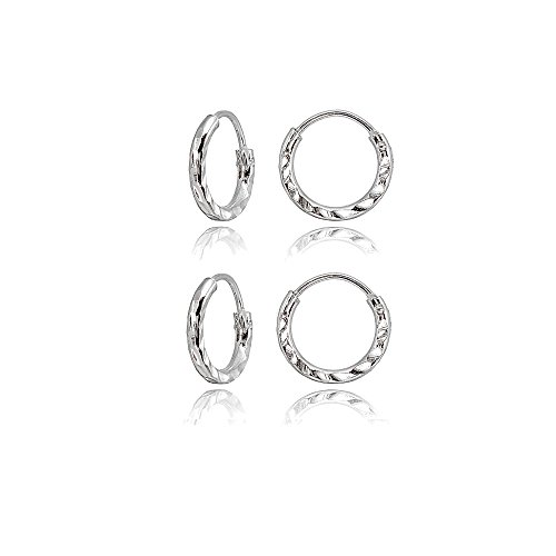 2 Pair Set Sterling Silver Diamond-Cut Tiny Small 10mm Round Lightweight Unisex Endless Hoop Earrings