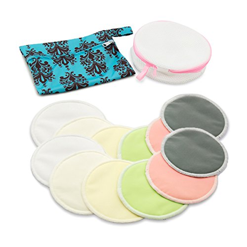 Babygoal Bamboo Nursing Pads(12 Pack)-No Leak-Reusable Washable Breastfeeding Pads With Mini Wet Bag and Laundry Bag 12NP01