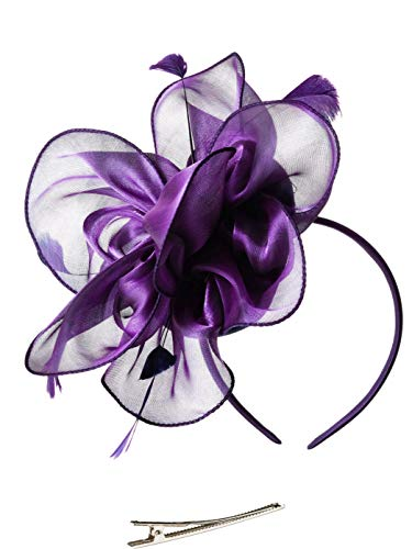 Fascinators Hat for Women Tea Party Headband Kentucky Derby Wedding Cocktail Flower Mesh Feathers Hair Clip (2-Purple) ()