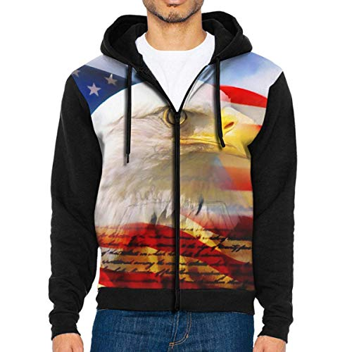Men's Workout Full Zip Jackets Hoodie American Flag with Eagle Hooded Sweatshirt Pullover with Pocket