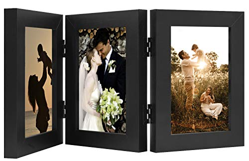 Golden State Art, Decorative Hinged Table Desk Top Picture Photo Frame, 3 Vertical Openings, 4x6 inches with Real Glass (4x6 Triple, Black)
