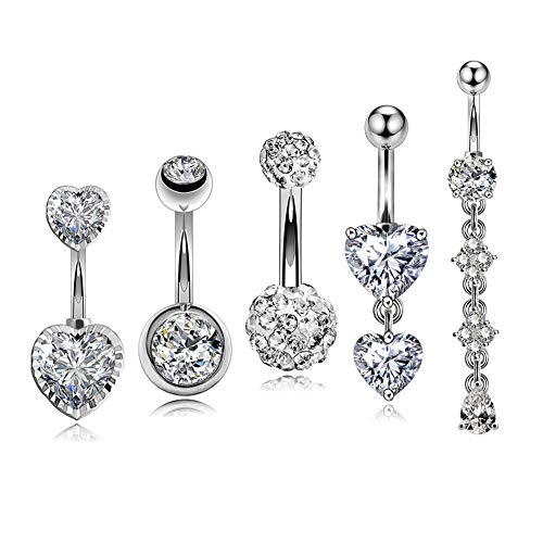 OUFER 5PCS 14G 316L Stainless Steel Belly Rings Double Heart Navel Piercing Clear CZ Belly Button Rings Dangle Belly Piercing