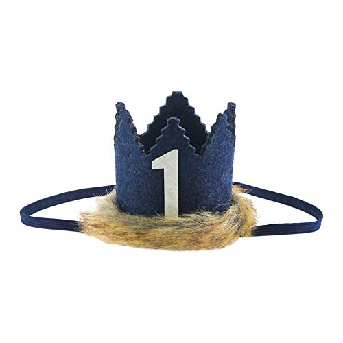 (Wild One Faux Fur Baby Crown, Where The Wild Things are Party Supplies Crown for Baby First Birthday Decors (Navy)