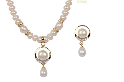 be7870841 Image Unavailable. Image not available for. Colour: SAPELS ORIGINAL PEARL  JEWELLERY SET