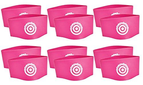 Unique Sports 12 Hot Spots Lace Bands Neon Pink Soccer Shoe Lace Cover - 6 Pair (Bands Shoe Soccer)