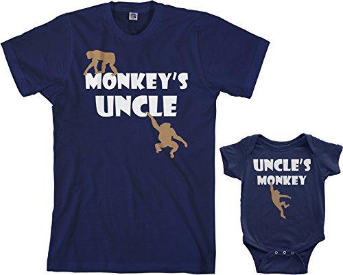 Threadrock Monkey's Uncle Infant Bodysuit & Men's T-Shirt Matching Set (Baby: 12M, Navy|Men's: L, Navy)