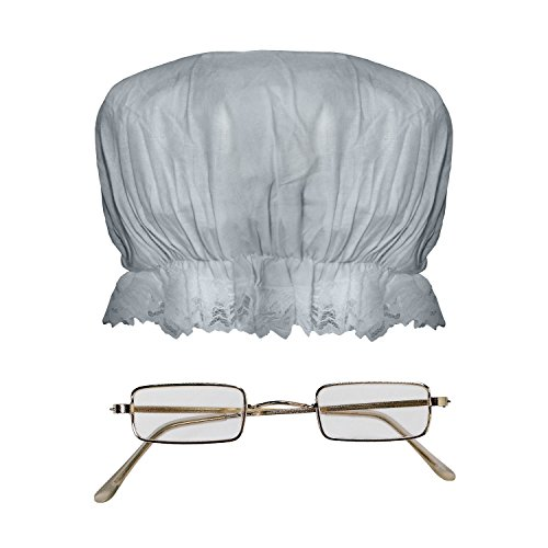 Granny Glasses and Mop Hat Costume Set, One Size -
