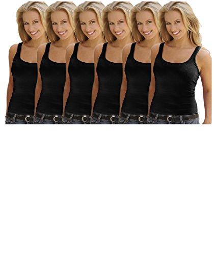 Best Brand Basics Basics Women's 6 Pack 100% Cotton Active Sport Color Tank Tops (Medium/6, 6 PK - The Brands Best