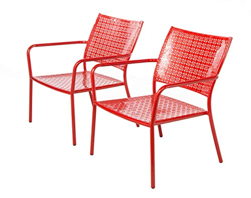 - Alfresco Home Martini Low Profile Lounge Chairs in Cherry Pie Finish, Set of 2