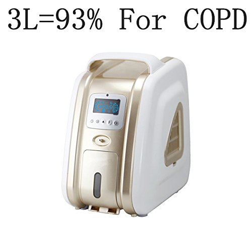 XGREEO XTY-AC-301 1-3L 93% Purity Portable Oxygen Concentrator Generator 110V/220V Air Purifier Oxygen Generator (Gold)
