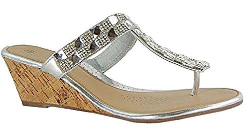 Dames Fou Confortables Sandales Diamante Pour N98 En Basse Été Compensé Entredoigt Argent Talon Mode Liège Femmes Shu Chaussures dtYqxSt
