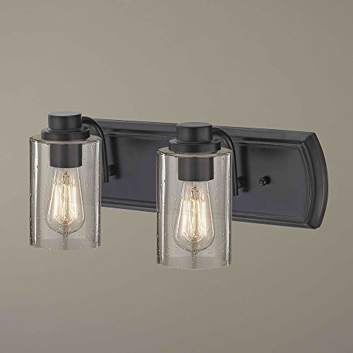 Industrial Seeded Glass Bath Wall Light Bronze 2 Lt ()