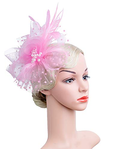 Cizoe Flower Cocktail Tea Party Headwear Feather Fascinators Top Hat for Girls and Women(1-Pink) ()
