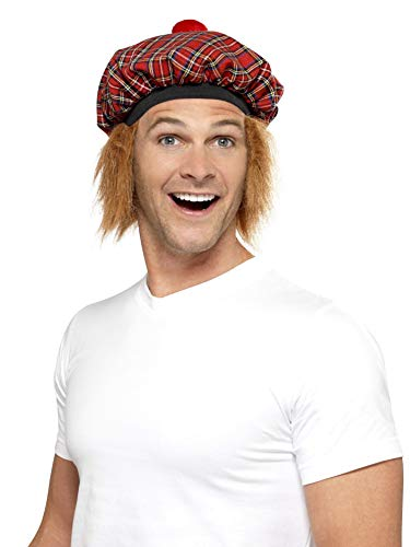 Smiffys Men's Tam-O-Shanter Tartan Hat with Hair and Pom Pom, Multi, One Size -