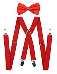 JAIFEI Men's X Back Suspenders & Bowtie Set - Perfect For Weddings & Formal Events (Red)