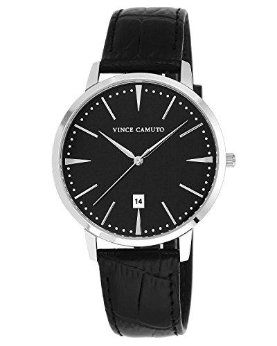 Vince-Camuto-Mens-VC1073BKSV-The-Associate-Black-Croco-Grain-Leather-Strap-Watch