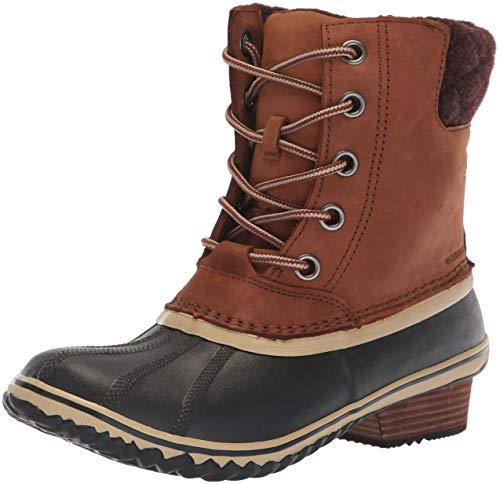 Sorel Women's Slimpack Lace II Snow Boot, Burro, Cattail, 7.5 M US (Boots Winter Snow Lace)