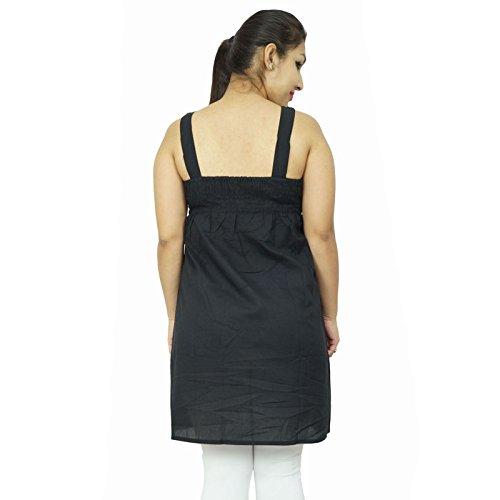 Casual vestido sin mangas de Verano largo SZ XXS partido de las mujeres ropa de playa Vestido de tirantes Negro