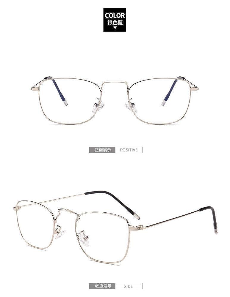 Retro small square flat mirror///anti-blue glasses ultra light///silver frame
