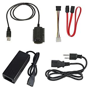 """New USB 2.0 to SATA/IDE Cable Adapter For 2.5 2.5"""" IDE Hard Disk / 3.5 3.5"""" IDE Hard Disk / SATA Hard Disk / CD/CD-RW ROM / DVD/DVD-RW ROM Hard Drive + AC Power Adapter"""