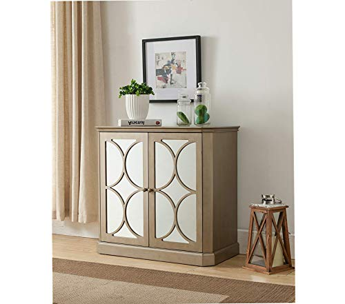 Wood & Style Furniture Brand Gold Finish Buffet Server Cabinet/Console Table Mirrored Doors Premium Office Home Durable Strong