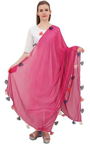 Phagun Chiffon Dupatta Indian Long Stole Throw Tassel Neck Wrap Chunni-Pink