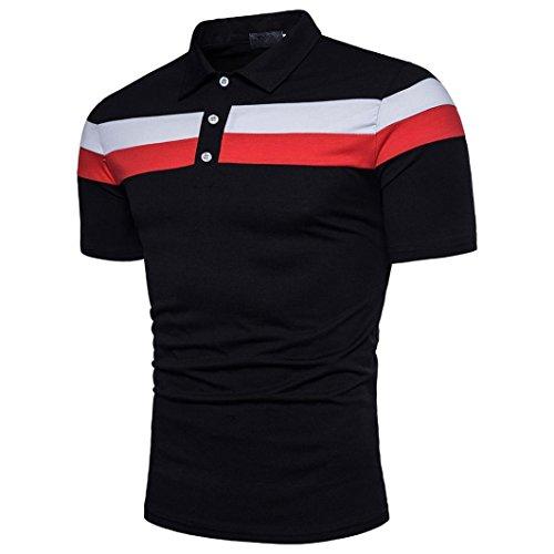 (Men Short Sleeve Polo shirts,Vanvler Male Stripe Top { Patchwork Blouse } (3XL, Black))