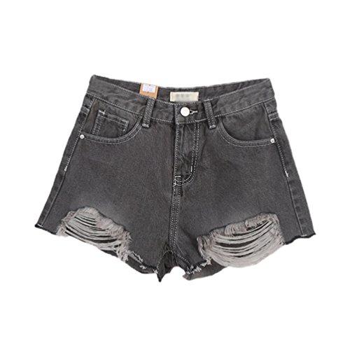 Chiaro Grigio Donne Pants Lihaer Hot Casual Buco Moda Retrò Alla Jeans Da Estivi Tendenza Pantaloncini Donna Di aqTZTC1w