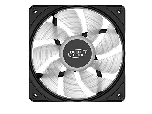 DEEPCOOL RF120W Single Color White Case Fan, 4 Ultra-Bright LED Lights, 9-Blade, Powered by 4 Pin Molex Connector or Motherboard 3 Pin Connector