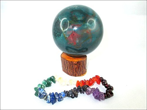 Jet Bloodstone 45 - 50 mm Ball Sphere Gemstone A+ Hand Carved Crystal Altar Healing Devotional Focus Spiritual Chakra Cleansing Metaphysical Jet International Crystal Therapy Booklet (Sphere Quartz Crystal Pendulum)