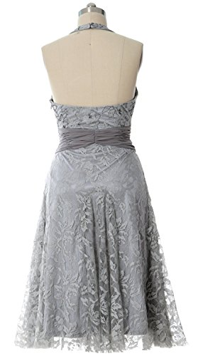 MACloth Women Halter Beaded Lace Short Formal Cocktail Party Dress Evening Gown Turquesa