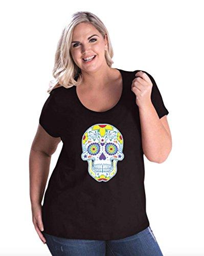 Halloween T-Shirt colorful Neon Skull Halloween Costumes Idea Women's Plus Size Scoopneck (2016 Women Halloween Costumes Ideas)
