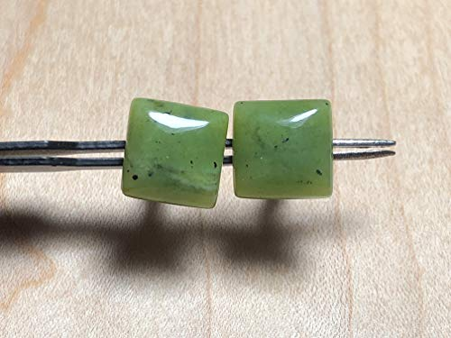 (10mm Square Green Nephrite Gemstone Jade with Sterling Silver Post Earrings)